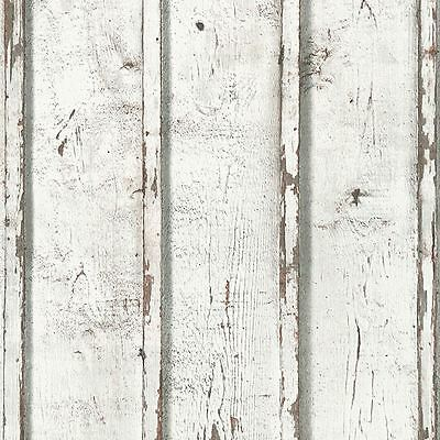 Rustic Planks Wallpaper White - As Creation 953701