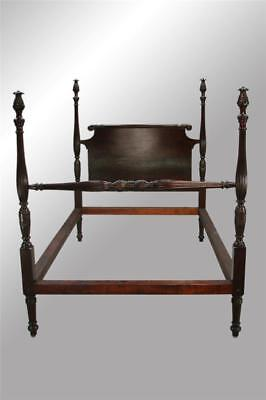 17008 Antique Mahogany Pineapple Fluted Poster Bed