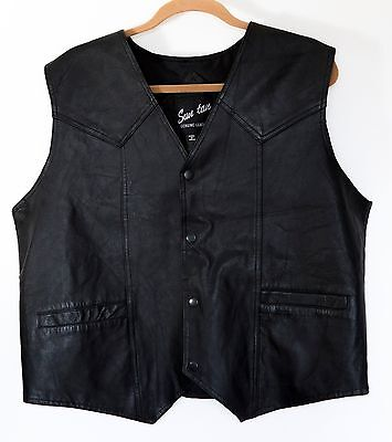 Men's GENUINE LEATHER VEST FULLY LINED - size XL