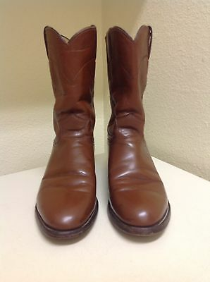 Men's Justin - Brown Leather - Cowboy Western Ropers / Boots -Size 7 D Usa Made