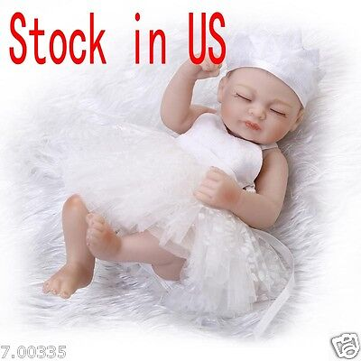 "11"" Lifelike Soft Silicone Vinyl Reborn Baby Dolls  New White Sleeping Girl Gift"
