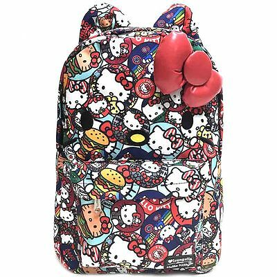 NWT Loungefly Hello Kitty Button All Over Print Backpack w/ Ears & Plush 3D Bow