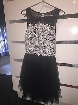 Ladies Size 8 Paradisco Lace And Tulle Black Dress