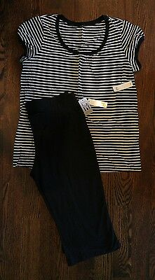 NWT Duo Maternity Black White Capri Shirt Outfit Size Large