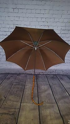 Vintage Antique Bamboo Handle Umbrella Fd Watling Silk Gents Gentleman