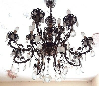Antique old Arms Brass & Crystals Chandelier from 1950's