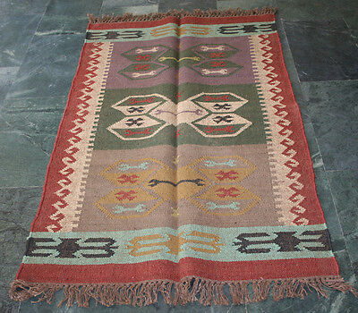"Kilim Rug Area Turkish Reversible 36""x60"" Ethnic Vintage Anatolian Carpet Rugs"