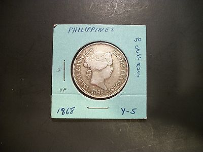Philippines 1868 50 Centimos Silver coin