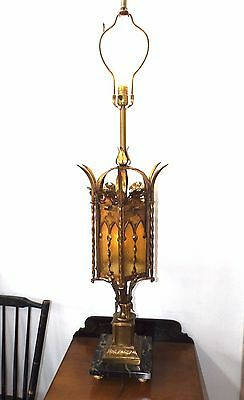 Vintage Marble & Wrought Iron Medieval Spanish Gothic Revival 3 way Table Lamp