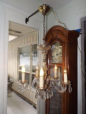 Vintage 1950's-60's 5 Arm Glass Crystal Chandelier Light Fixture Hand Painted