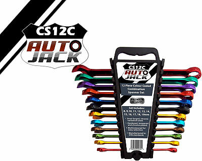 Autojack CS12C 12 Piece Coloured Colour Coded Combination Spanner Wrench Set