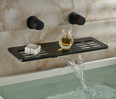 Multifunction Waterfall Spout Bathtub Faucet Wall Mount Dual Knobs Mixer Tap