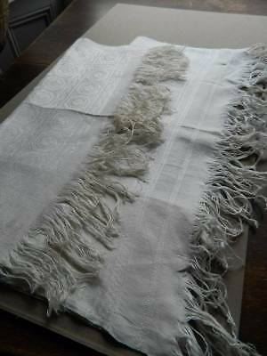 Two vintage UNUSED Irish linen damask kitchen towels with fringed ends.