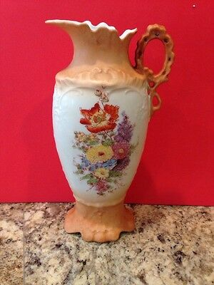 Vintage Victoria Carlsbad Austria Vase Pitcher Orange And White With Flowers