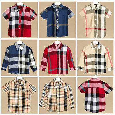 Boy Check Button Shirt Toddler Kids Fall Long Sleeve Plaid Tops Brand Clothes 7Y