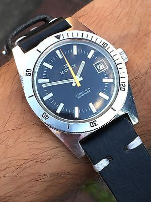 Vintage Steel Edox Hydro-Sub Automatic Mens Diver Watch