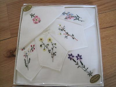 Set of 6 Irish Linen Wildflower Handkerchiefs In Box