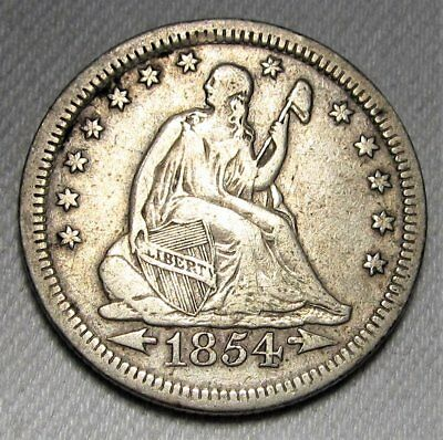 1854 Arrows at Date Seated Liberty Quarter FINE AD307