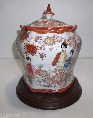 Antique Chinese Porcelain TEA CADDY Hand Painted GEISHAS Rose FAMILLE