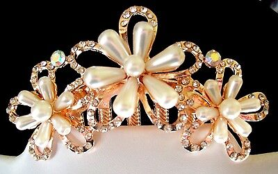 Lovely Rose-Gold Tone Flower Hair Comb w/Faux Pearls & Clear Crystals Party/Prom