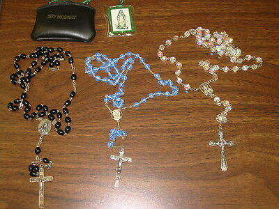 VINTAGE Black,Blue ,Clear ROSARY ~MARY RELIGIOUS  and Case LOT  of 5 items