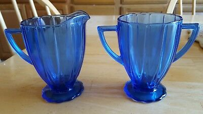 Vintage Depression Glass Sugar Bowl & Creamer Cobalt Blue Newport Hairpin MINT!
