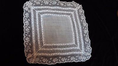 Antique Handmade Valencienne Lace Hand Embroidery Whitework Cotton Handkerchief