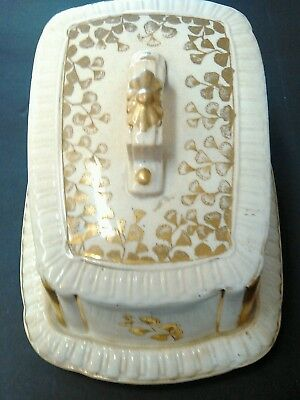 Antique 19th c. English Porcelain Cheese Tray & Cover Keeper Butter Dish Plate