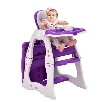 3 in 1 Convertible Play Table Seat Infant High Chair Booster Toddler Feeding