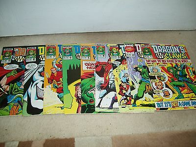 VINTAGE DRAGON'S CLAWS MARVEL COMICS ISSUE 1st ,2,3,4,5,6,7,8,9.EXCELLENT COND