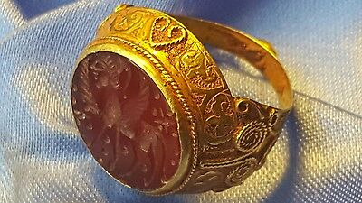 Beautiful Ancient Greek Gold   Intaglio Ring Very Rare