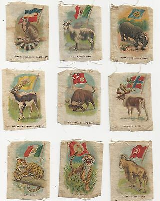 SC1 Natural History Animals with Flags Tobacco Silks Lot of 9 Different