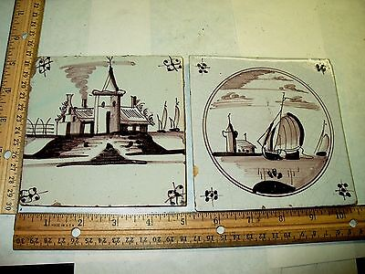 2 Antique Dutch Delft Pottery Manganese Tiles W/ Castle & Sail Boats-Mulberry