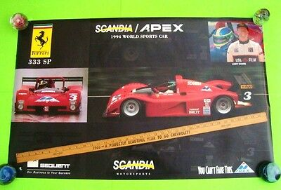 "scarce 1994 FERRARI 333 SP SCANDIA / APEX 38"" X 24"" AUTO RACE POSTER Andy Evans"