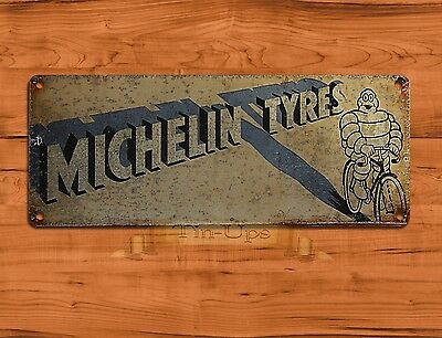 "TIN-UPS TIN SIGN ""Michelin Rustic"" Tires Garage Advertisement Wall Decor"