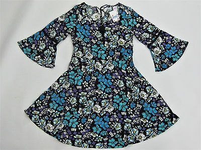 NWT Justice Kids Girls Size 8 10 12 14 Black Flower Bell Sleeve Dress