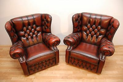 Vintage Monks Chesterfield Armchairs Oxblood Leather