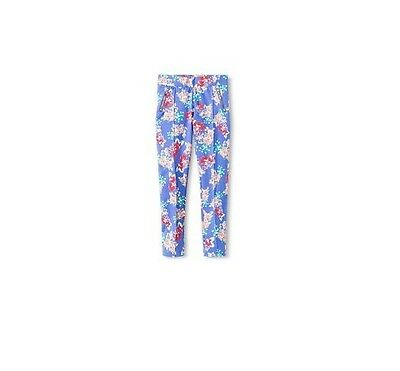 NWT Girls Cherokee Blue Floral Ponte Pants, Zippers, Target, Sz 14/16 XL