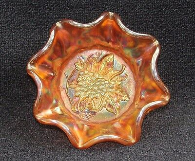 """Vintage IMPERIAL Orange Carnival Glass Heavy Grape Candy Dish Bowl 6 7/8"""" Dia"""