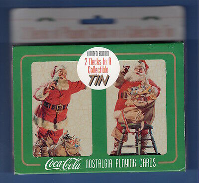1994 (2) Decks Of Coca Cola Playing Cards In A Collectible Tin-Holiday-Santa