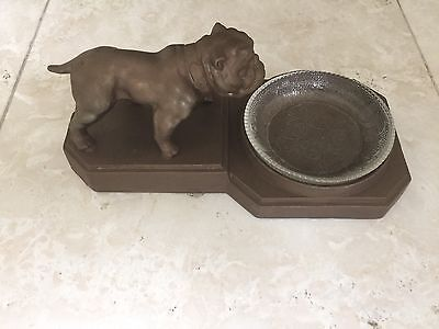 ANTIQUE VINTAGE  BULLDOG  TRAY ASHTRAY Complete With Glass Bowl