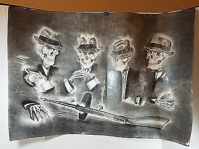 Pencil Drawing Skeleton Gangsters Tommy Submachine Gun Original Artwork Unique