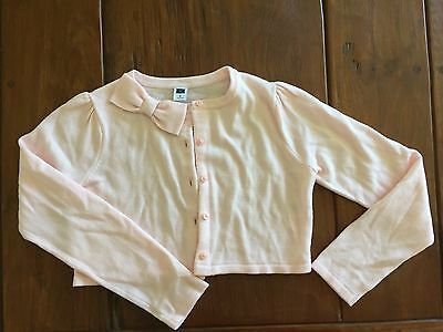 NWOT Janie & Jack pink crop cardigan with bow detail, size 8