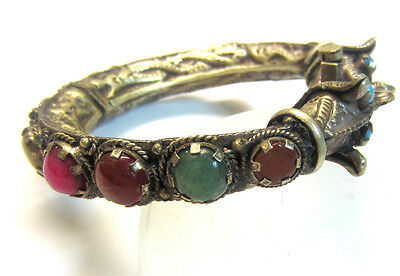 Antique Bracelet Chinese Silver Hinged Dragon Serpent Semiprecious Stones