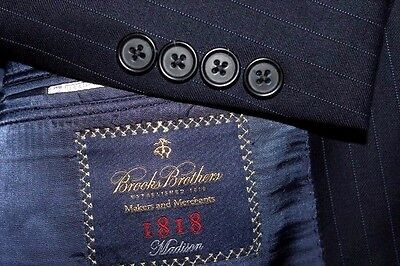 "BROOKS BROTHERS ""Madison"" Men's Suit 44L 39x32 Navy Striped Wool Made USA"