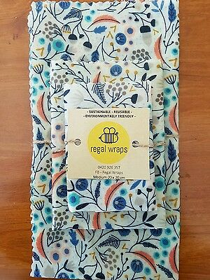 Reusable Eco Friendly Beeswax Food Wraps - Mixed Pack - 4 Wraps - 4 Sizes -