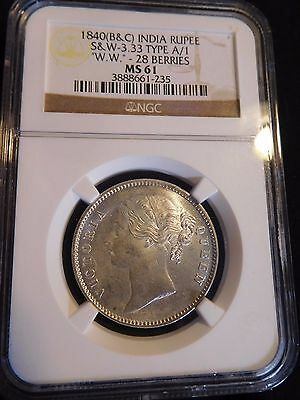 "India British 1840(B&C) Rupee S&W-3.33 Type A/1 ""W.W.""-28 Berries NGC MS-61"