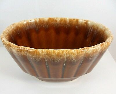 RARE Vintage Hull Brown Drip Oval Fluted Bowl Pristine Art Pottery Planter BD01
