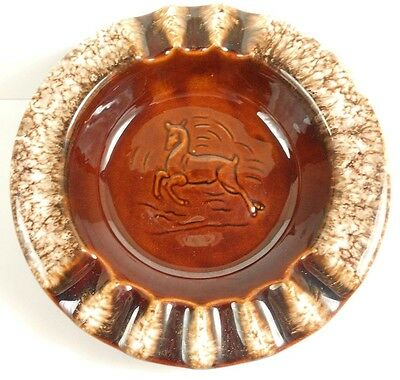 Vintage Hull Brown Drip Pottery Deer Ashtray Buck Stag Antelope Wildlife BD03