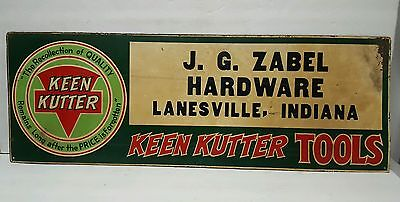 Rare J.G. ZABEL HARDWARE KEEN KUTTER SIGN LANESVILLE INDIANA IN